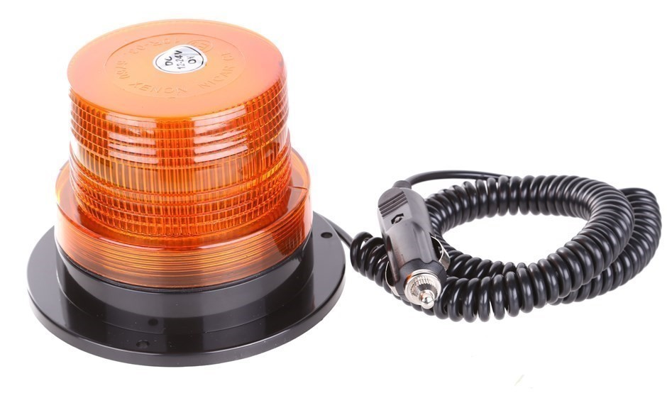 Revolving Warning Beacon With Magnetic Base, 12/24V, Size: 135mm (Length) x