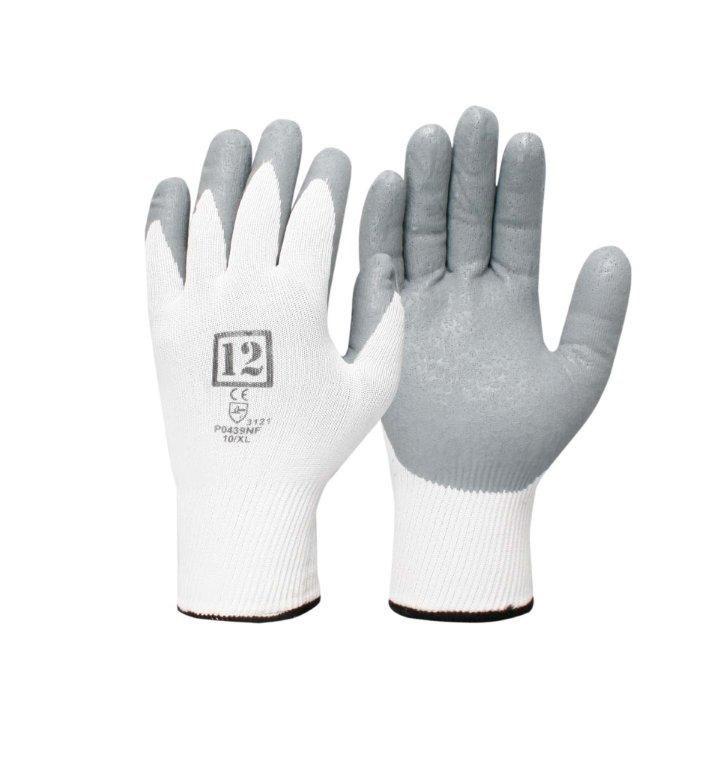 12 x Pairs Foam Nitrile Coating Gloves, Size 2XL/11, Seamless Nylon Lining.