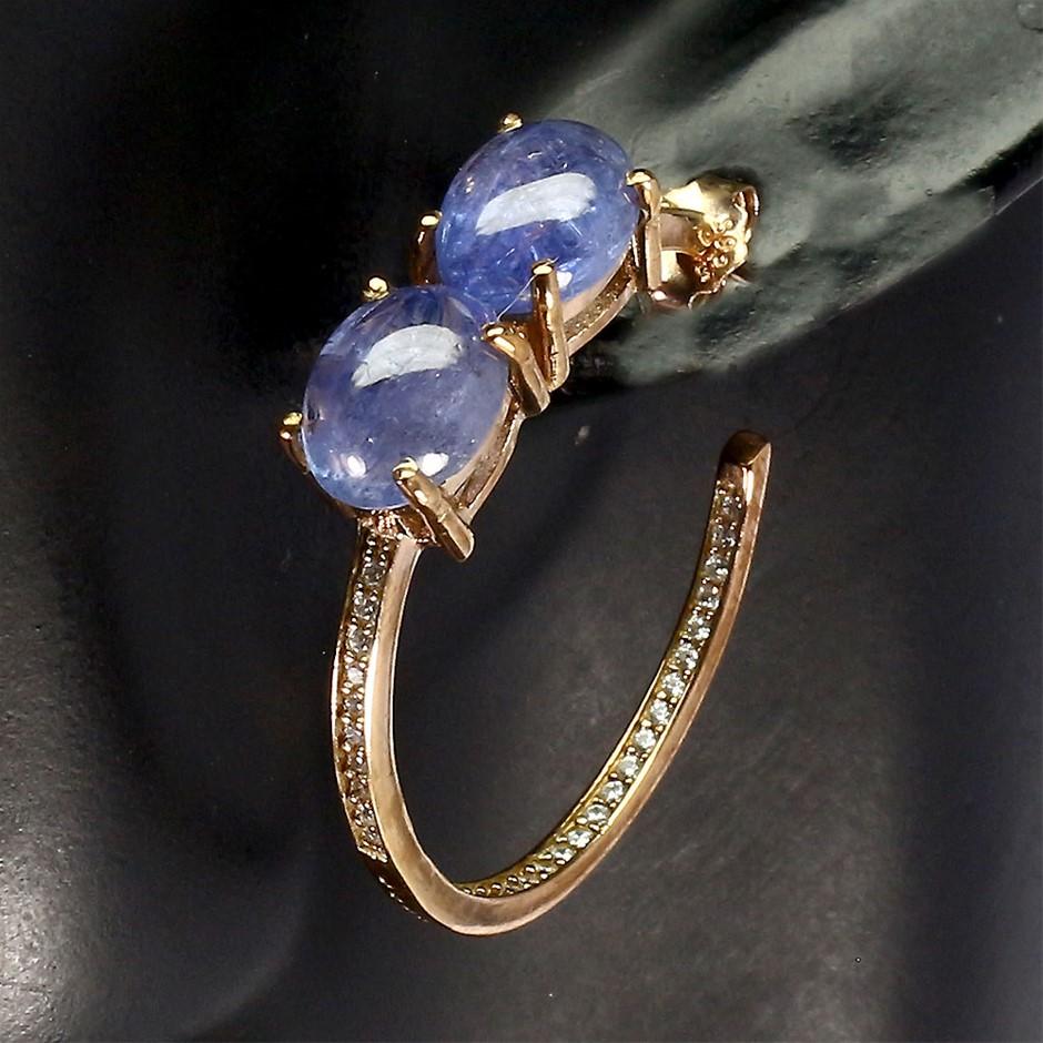 Beautiful Genuine Tanzanite Hoop Earrings