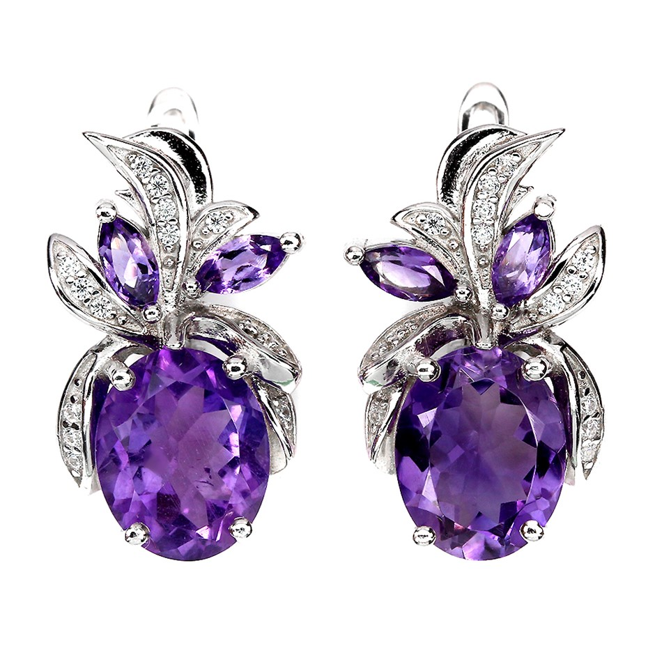 Delightful Genuine Amethyst Earrings