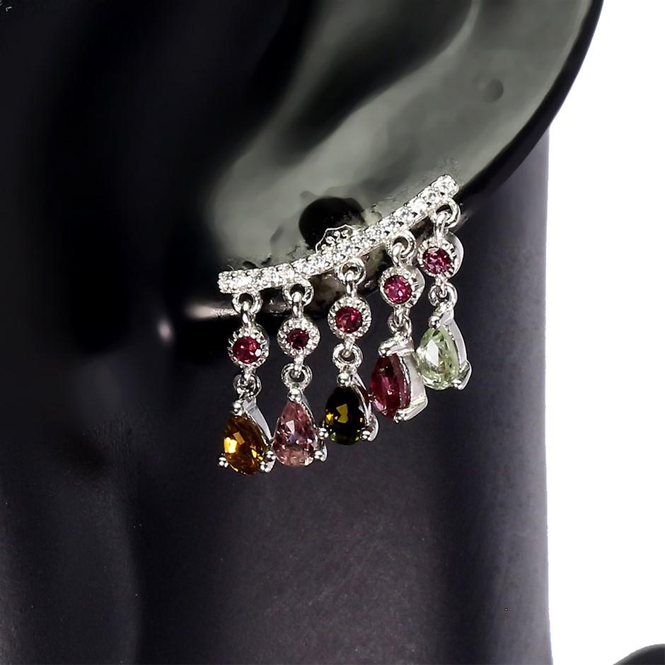 Stunning Unique Genuine Tourmaline & Garnet Cuff Earrings