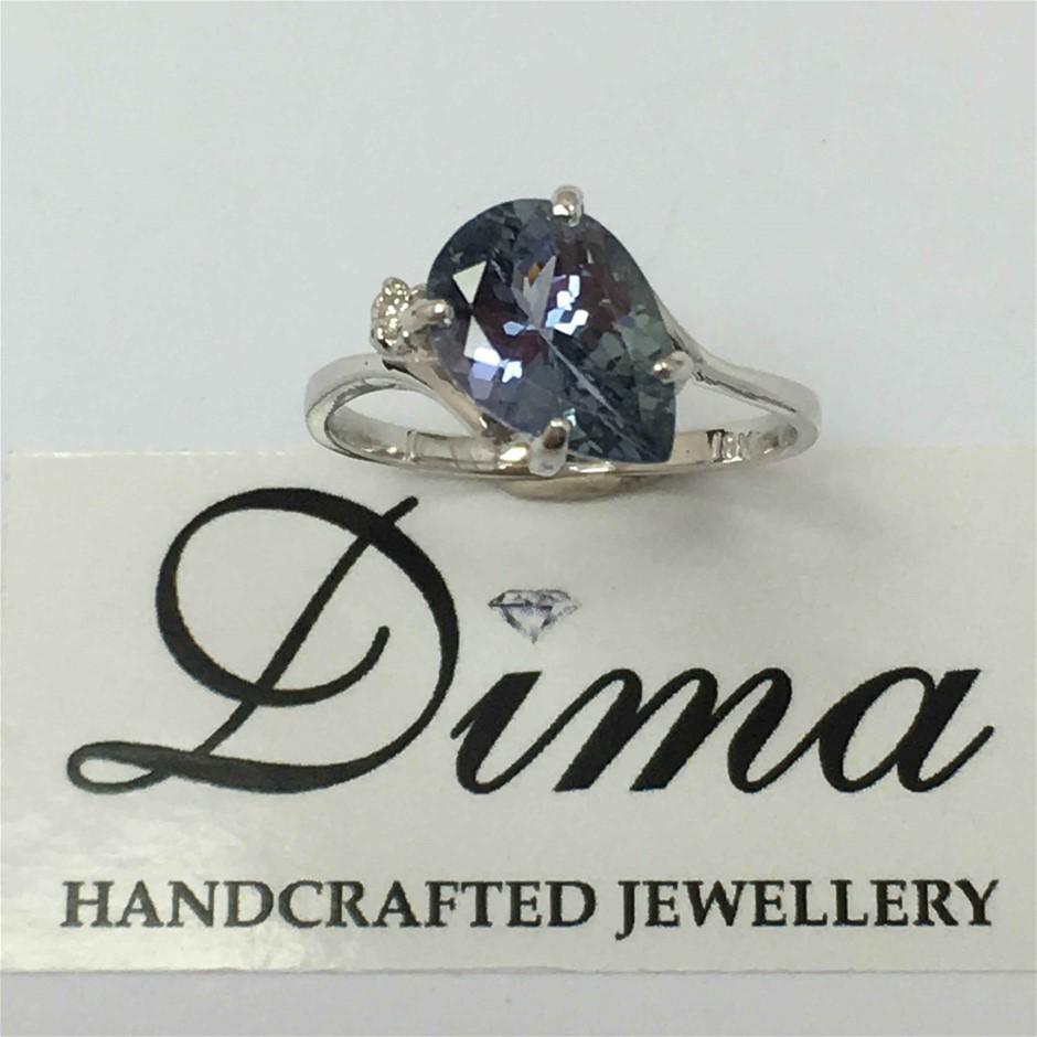 18ct White Gold, 2.38ct Tanzanite and Diamond Ring