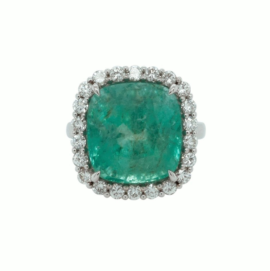 18ct White Gold, 16.26ct Emerald and Diamond Ring