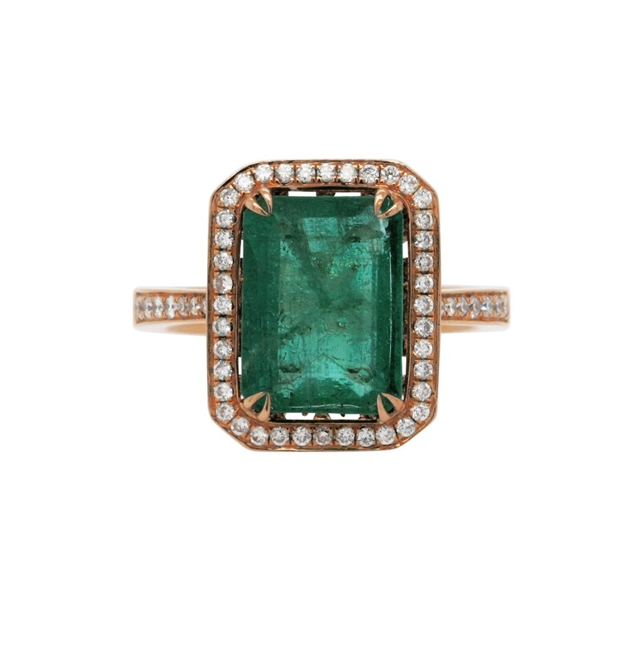 18ct Rose Gold, 4.79ct Emerald and Diamond Ring