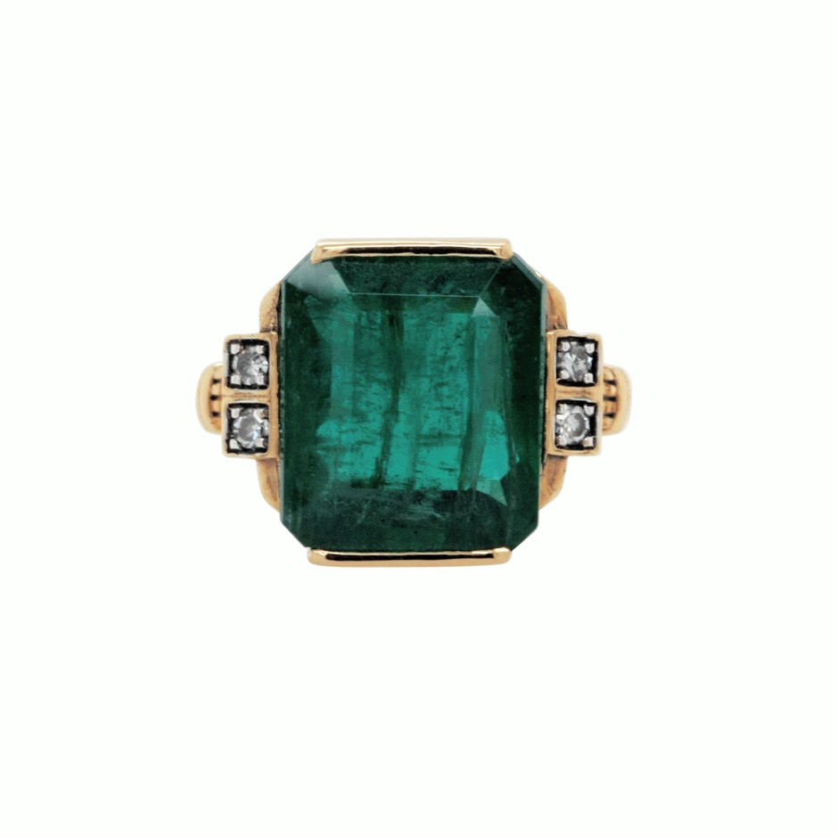 18ct Yellow Gold, 7.98ct Emerald and Diamond Ring