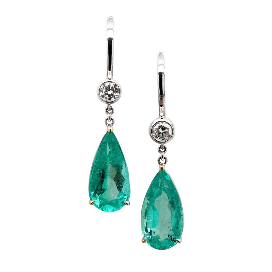 One pair of ladies - platinum drop pierced earrings, 10.47ct in Total