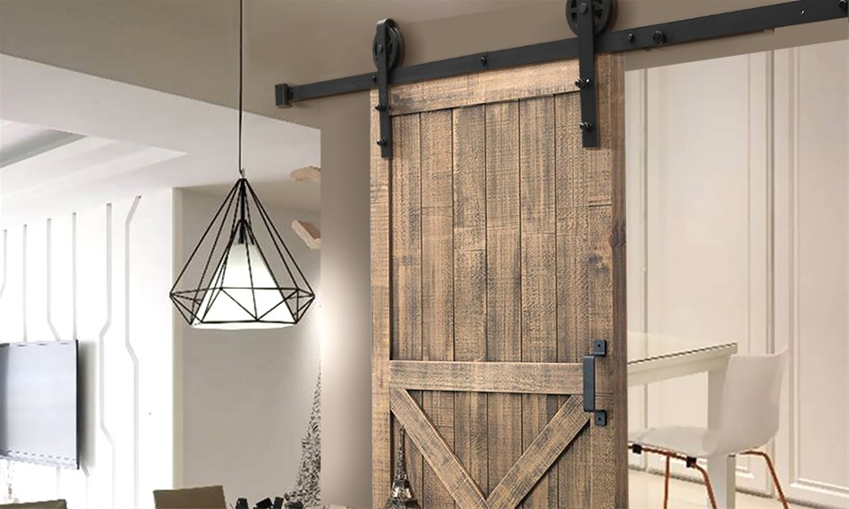 1.5M Antique Classic Style Single Sliding Barn Door Hardware Track Roller