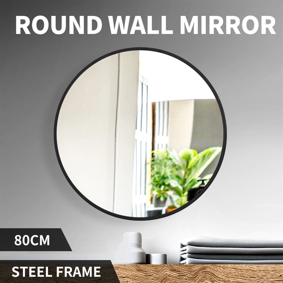 Wall Mirror Round Shaped Bathroom Makeup Mirrors Smooth Edge 80CM