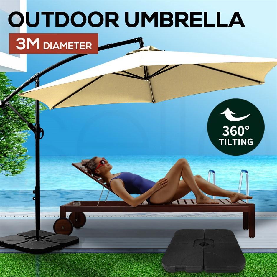 3M Umbrella Cantilever Umbrellas Base Stand UV Shade Garden Patio Beach