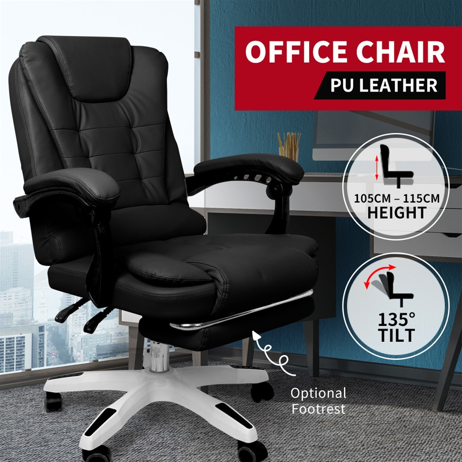 Gaming Chair Office Computer Racing PU Leather Executive Footrest Racer