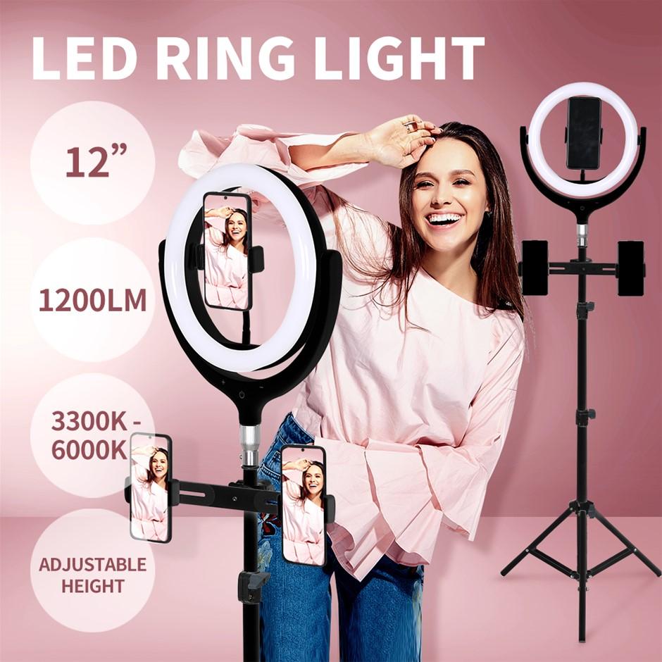 12'' LED Ring Light w/ Tripod Stand Holder Dimmable Selfie Studio Lamp