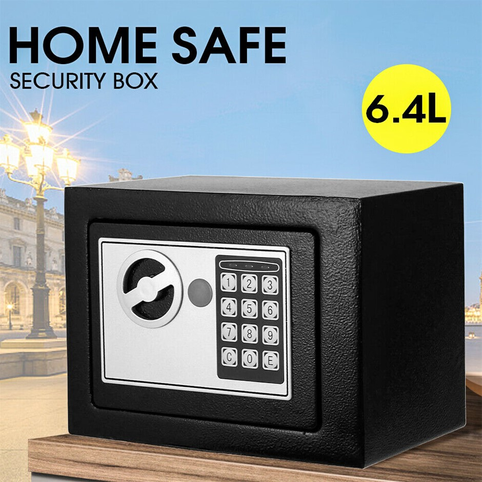 6.4L Electronic Safe Digital Security Box Home Office Cash Deposit Password