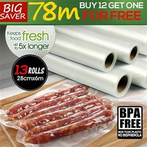 13x Vacuum Food Sealer Rolls Seal Bags S