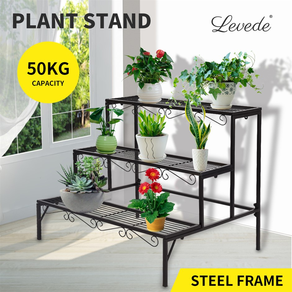 Levede Plant Stands Outdoor Indoor Metal Flower Pot 3 Garden Corner Shelf