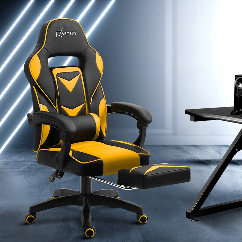 Artiss Office Chair Computer Desk Gaming Chair Home Work Recliner Yellow
