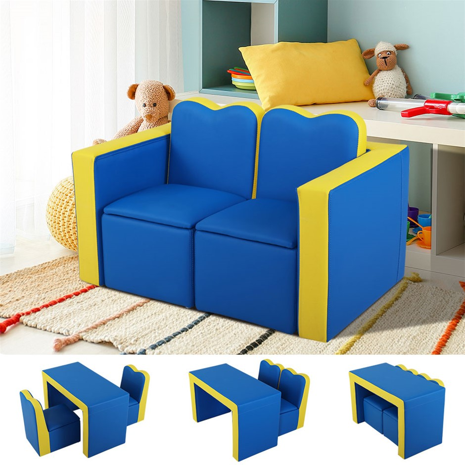 Keezi Kids Sofa Armchair Children Table Chair Couch PU Padded Blue Space