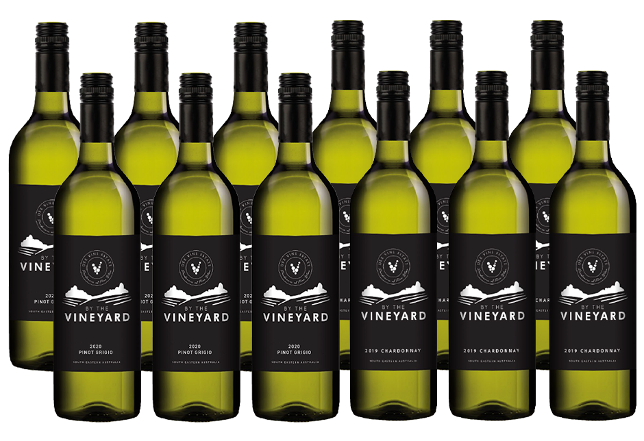 By The Vineyard Mixed Pack Pinot Grigio & Chardonnay (12x 750mL). SEA.