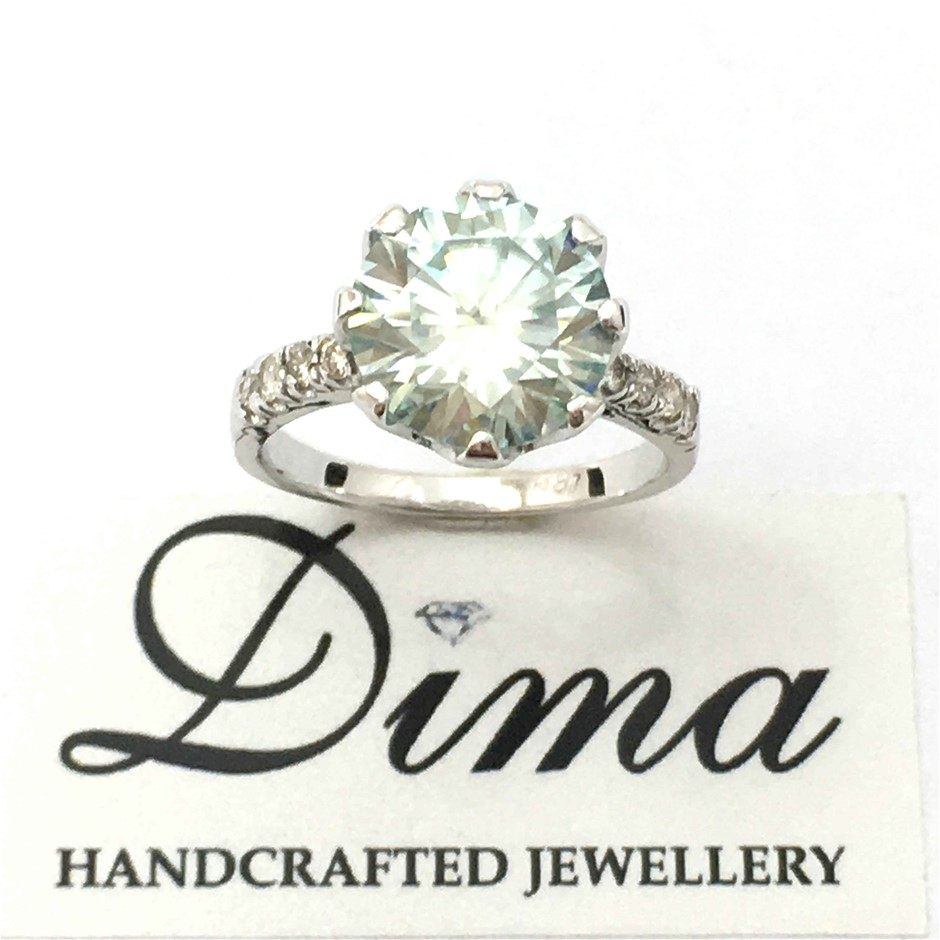 18ct White Gold, 3.88ct Moissanite and Diamond Ring