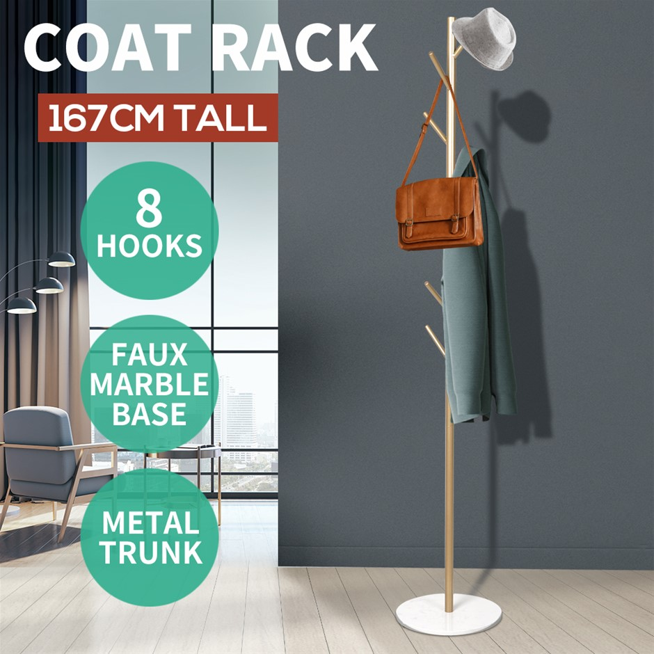 8 Hook Coat Stand Rack Metal Tree Style Hat Clothes Hanger Shelf Golden