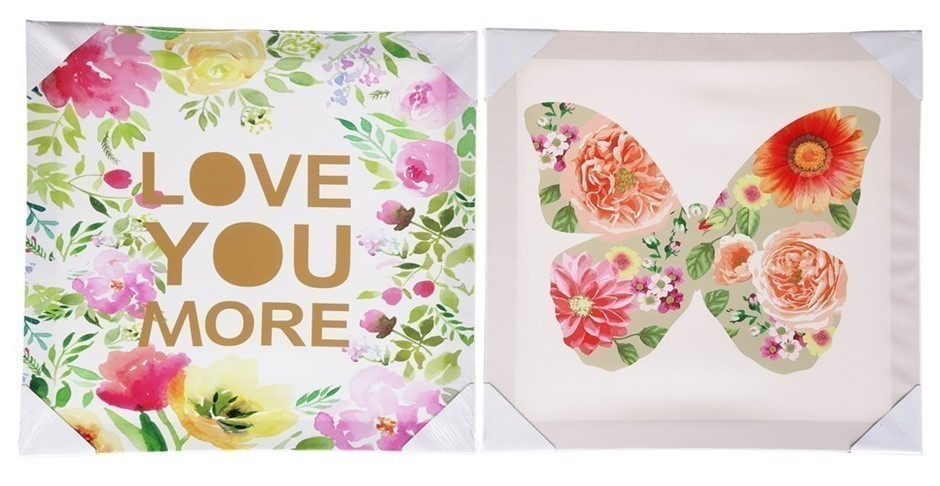 3 x Sets of 2 Canvass Wall Hangings, ``Butterfly & Love You More`` 400 x 40