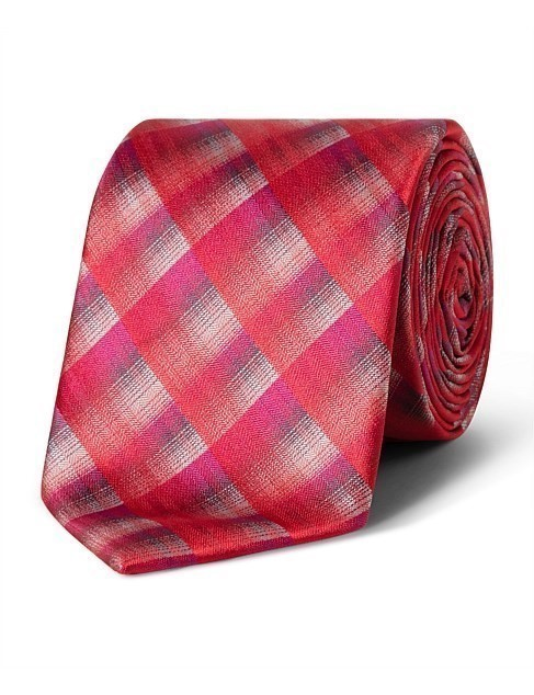 VAN HEUSEN Red Multi Check VH Poly Tie, Colour: Red. Buyers Note - Discount