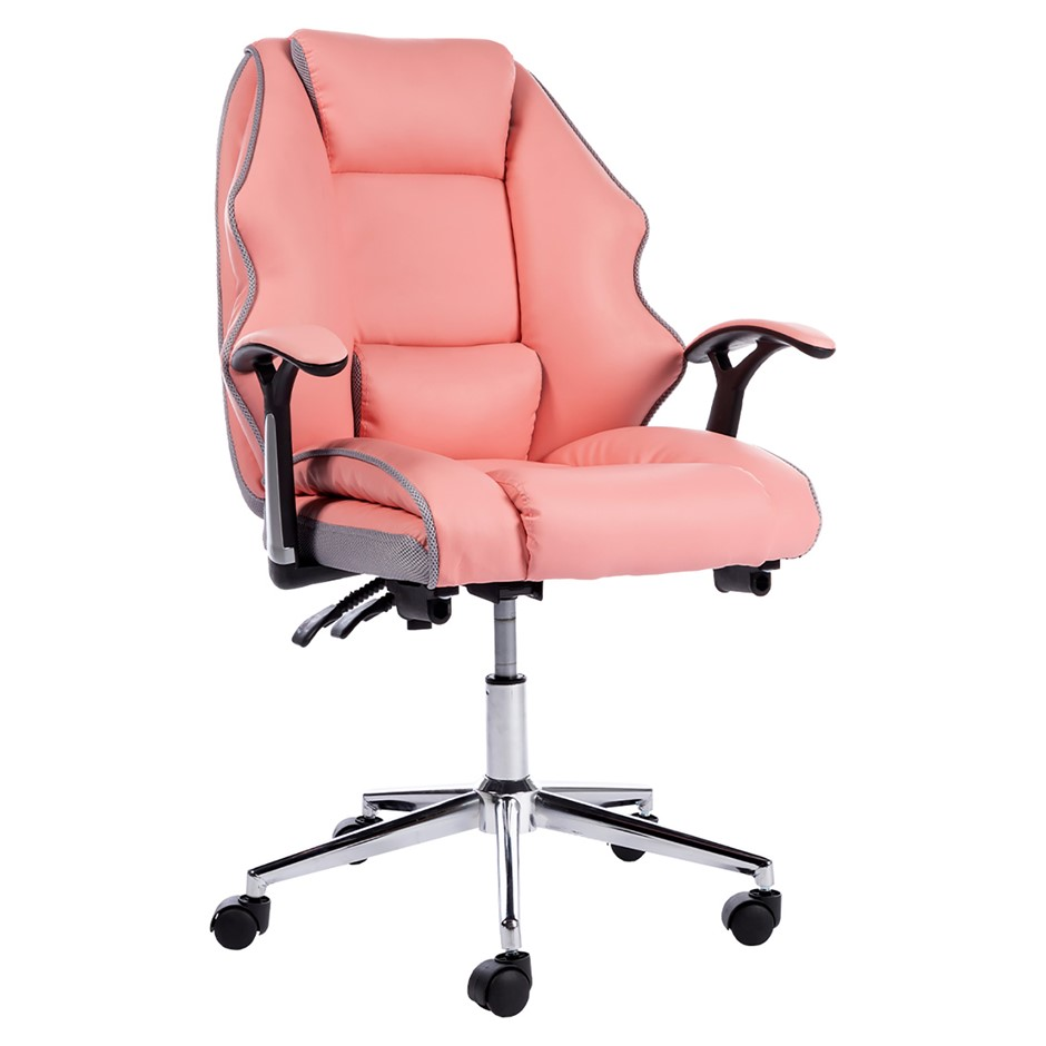 PU Upholstered Modern Reclining Executive Office Chair Pink