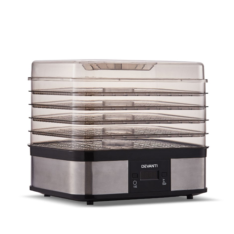 Devanti 5 Trays Food Dehydrators Fruit Dehydrator Dryer Jerky Maker