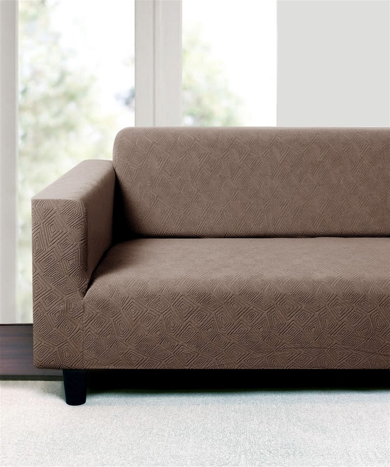 Sherwood Polygon Jacquard Easy Stretch LIGHT BROWN 2Seater Couch Sofa Cover