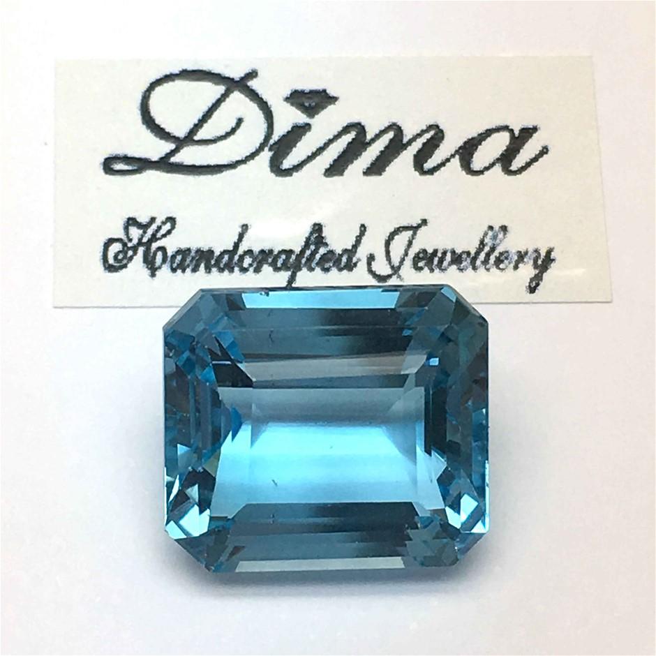 One Stone Blue Topaz Emerald Cut 5.20ct