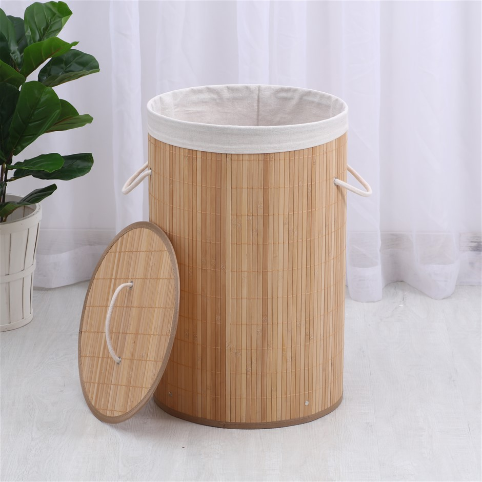 Sherwood Round Foldable Bamboo Laundry Hamper