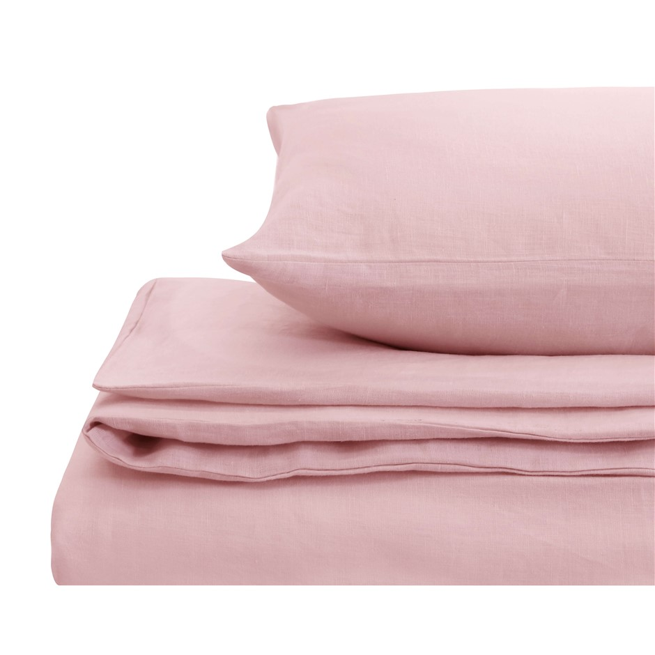 Natural Home Linen Quilt Cover Set Double Bed Blush Pink