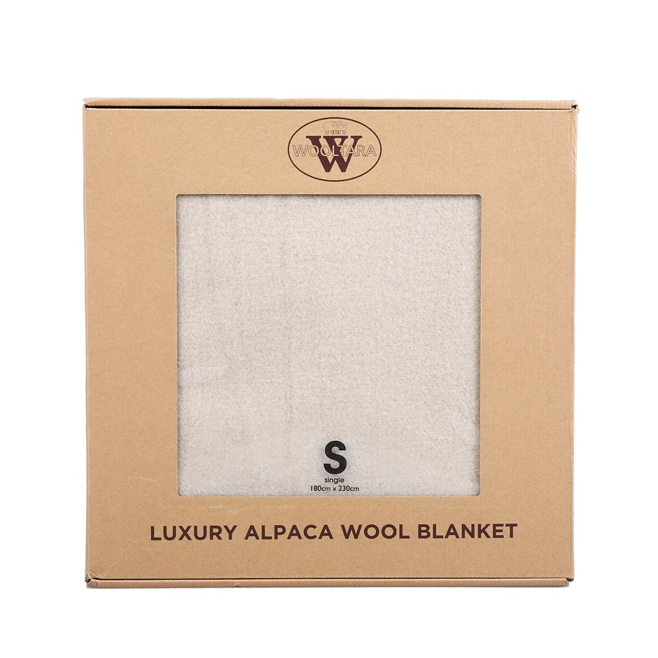 Wooltara Luxury 350GSM Alpaca Wool Blanket Latte Double Bed