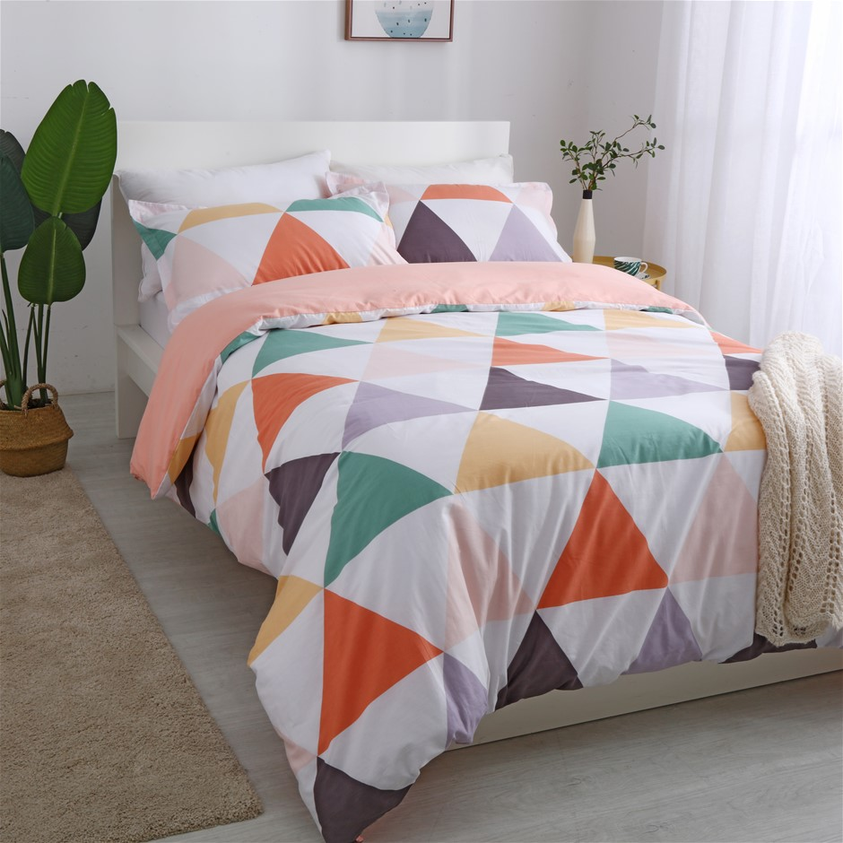 Dreamaker 250TC Egyptian Cotton Printed Quilt Cover Set DoubleBed Amsterdam