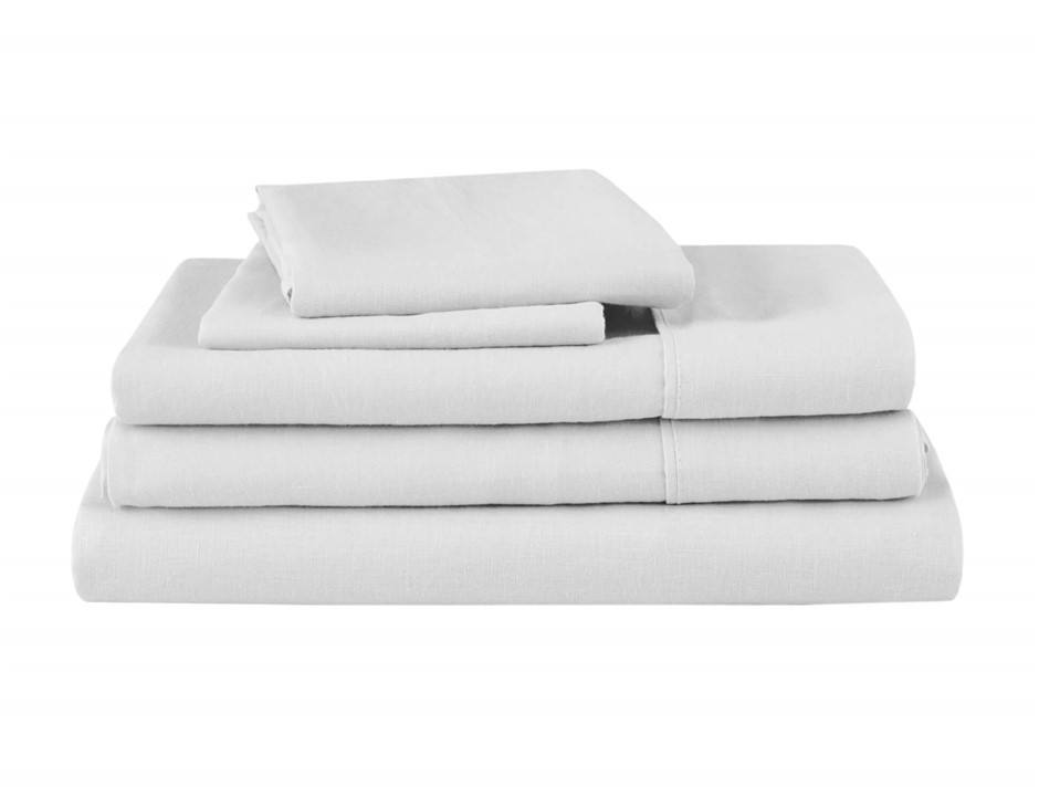 Natural Home Linen Sheet Set Single Bed WHITE