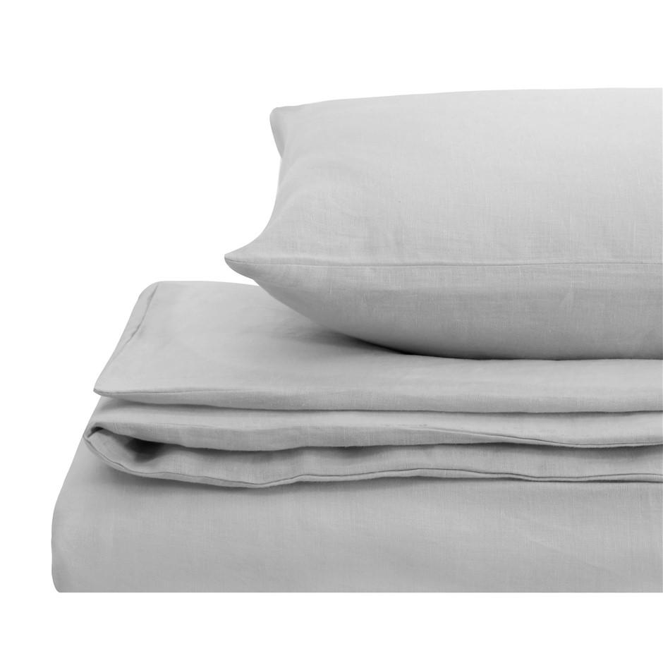 Natural Home Linen Quilt Cover Set Super King Bed SILVER