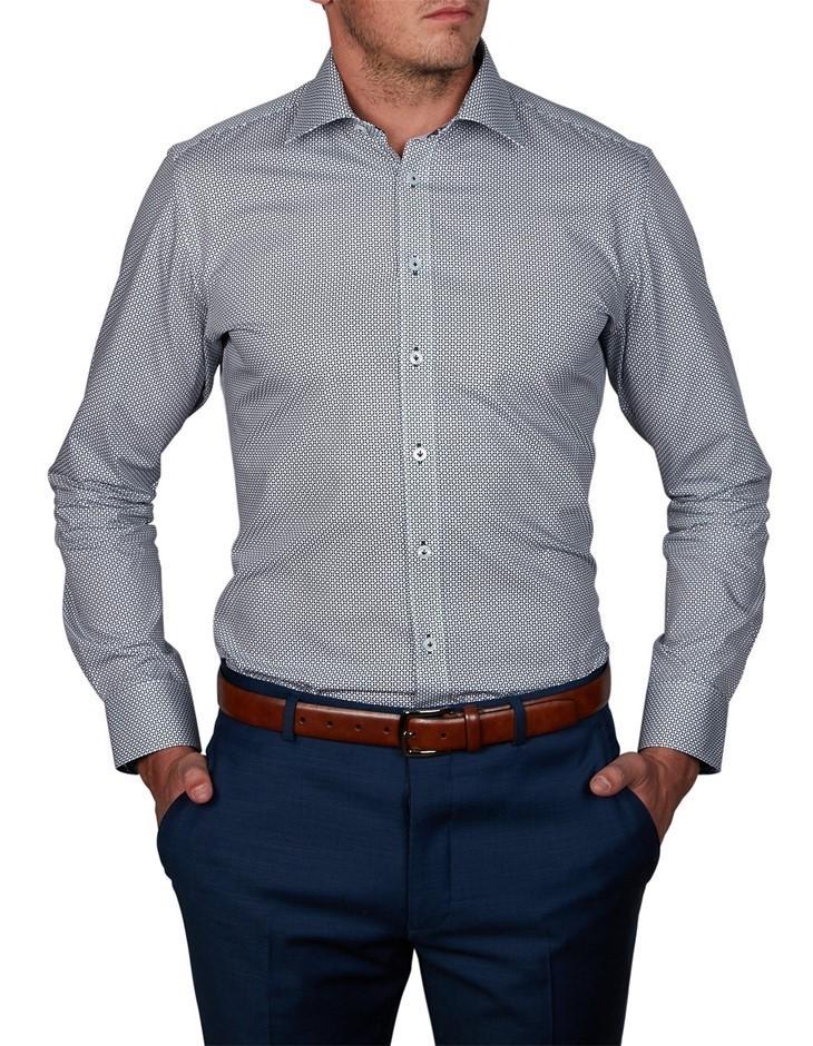 ABELARD Longega Print Shirt. Size 44, Colour: Navy. 100% Cotton. Buyers Not