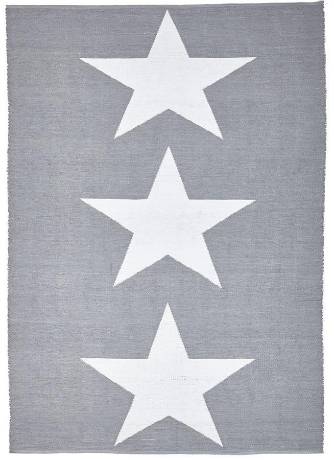 Large Grey Upcycled Star Flatwoven Rug - 270X180cm