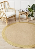 Large Gold Hand Braided Jute & Leather Contemp Round Rug-200X200cm