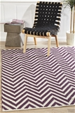 Medium Purple Handmade Cotton & Jute Chevron Rug - 225X155cm