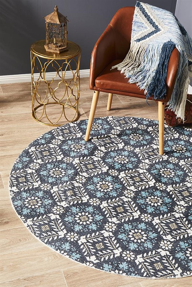 Round Blue Hand Braided Cotton Florale Flat Woven Rug - 200X200cm