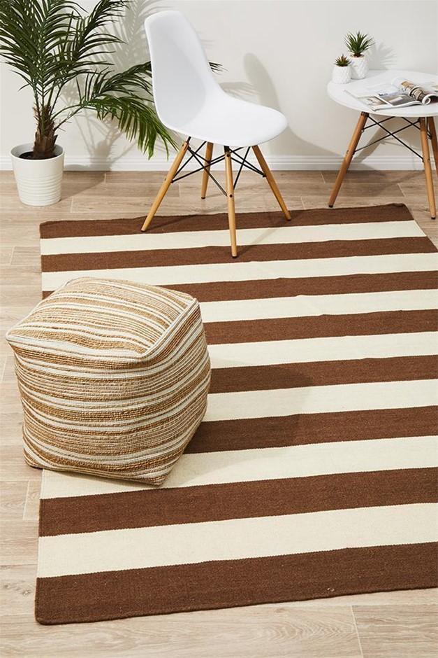 Medium Taupe Handmade Wool Striped Flatwoven Rug - 225X155cm