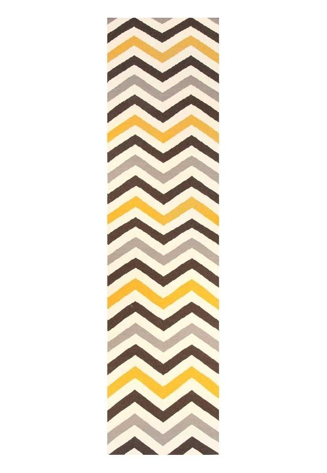 Medium Yellow Handmade Wool Chevron Flatwoven Runner Rug - 300X80cm