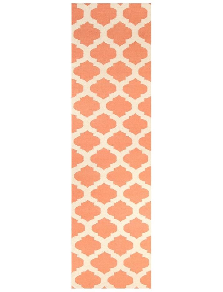 Medium Coral Handmade Wool Lattice Flatwoven Runner Rug - 300X80cm