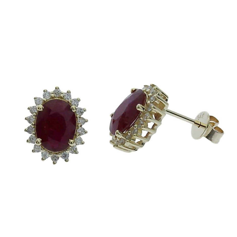9ct Yellow Gold, 3.17ct Ruby and Diamond Earring