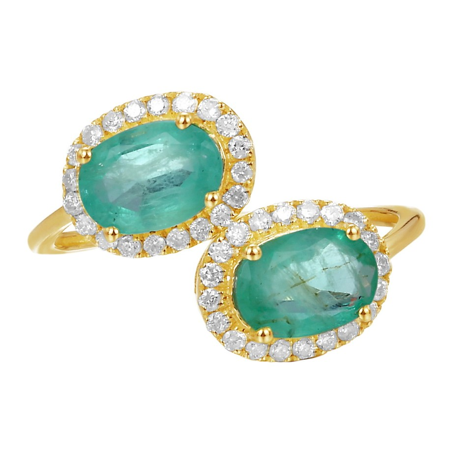 9ct Yellow Gold, 1.53ct Emerald and Diamond Ring