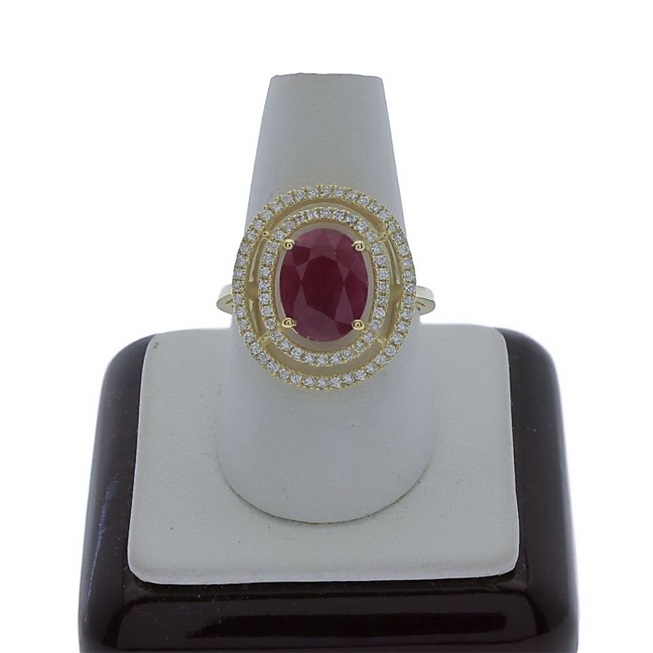 9ct Yellow Gold, 3.66ct Ruby and Diamond Ring