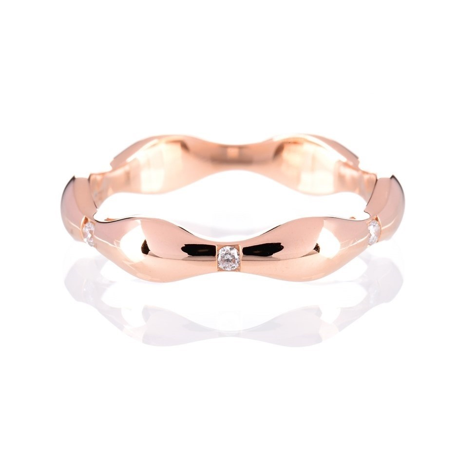 Solid rose gold and diamond ring 0.06ct TDW