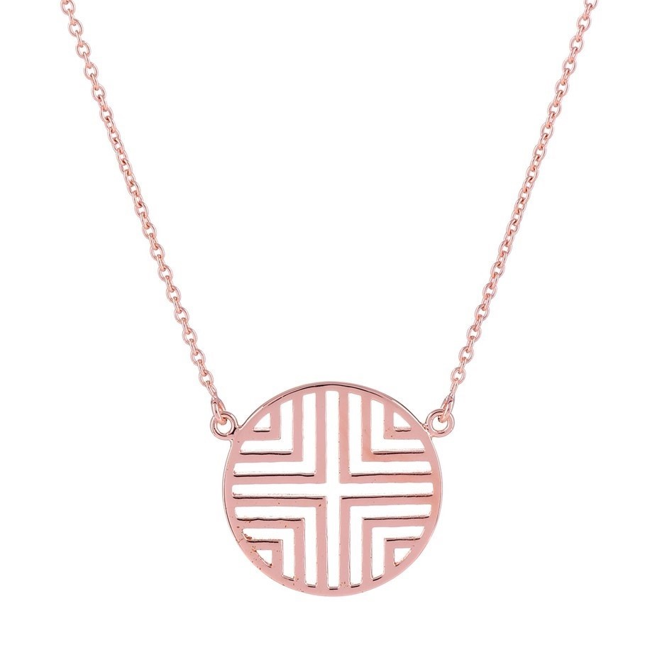 Rose gold plated sterling silver geometric disc pendant & adjustable chain