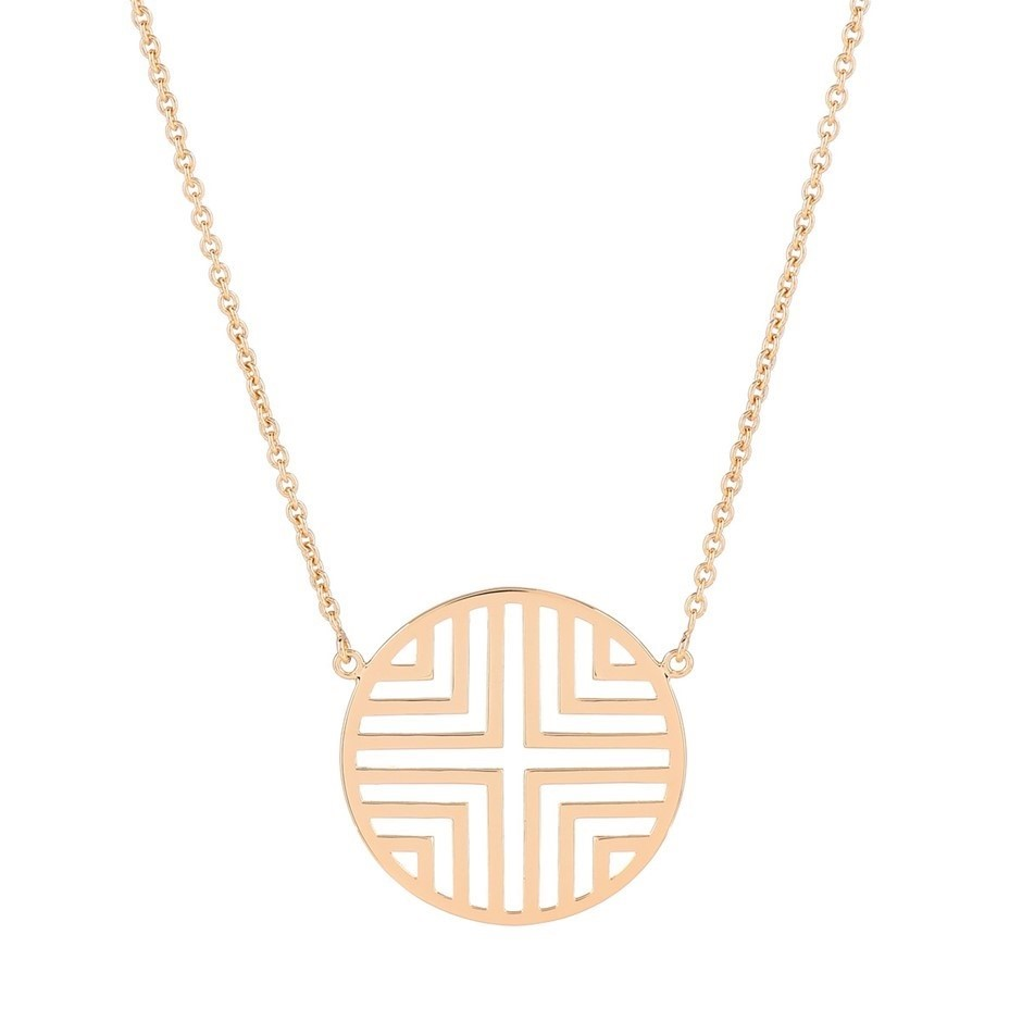 Yellow gold plated sterling silver geometric disc pendant adjustable chain