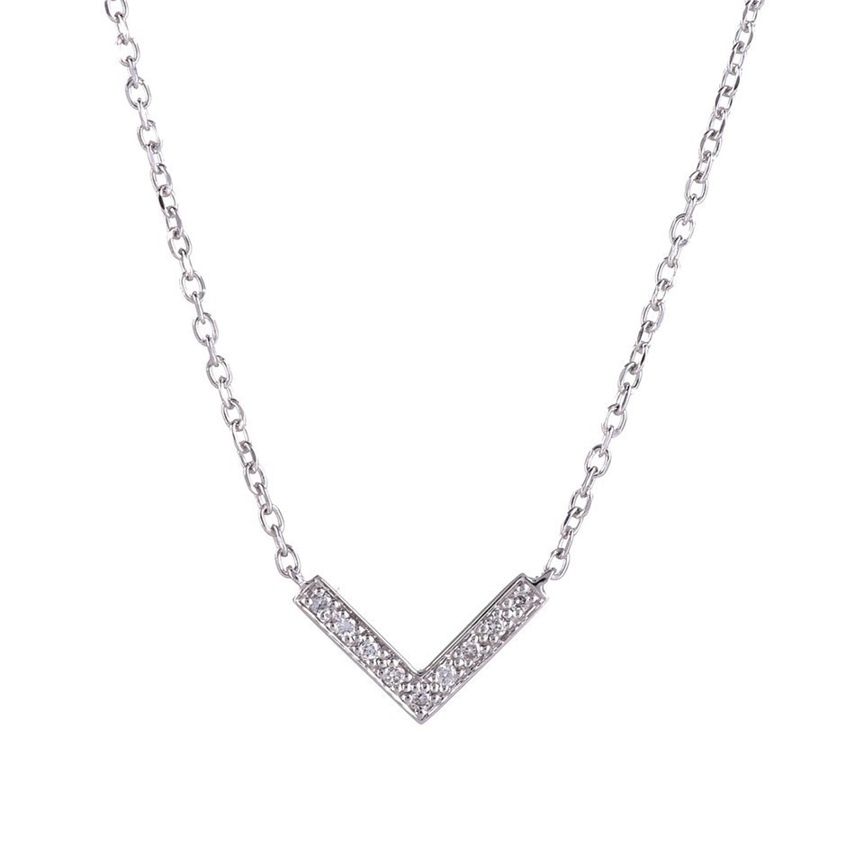 9ct solid white gold and diamond pendant TDW 0.045ct